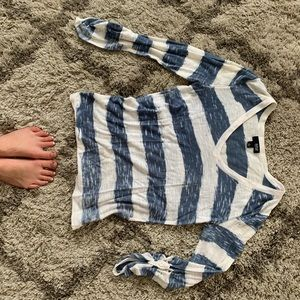 Ana vneck sweater blue and white stripe